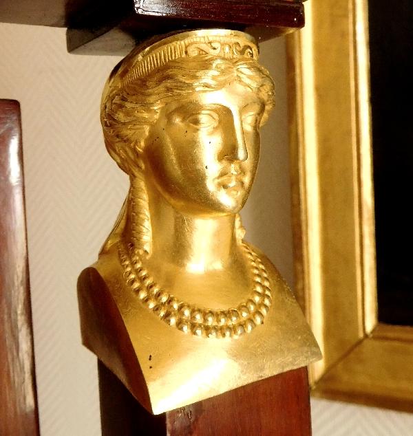 Miroir psyché en acajou et bronze doré, glace au mercure, époque Consulat - Retour d'Egypte
