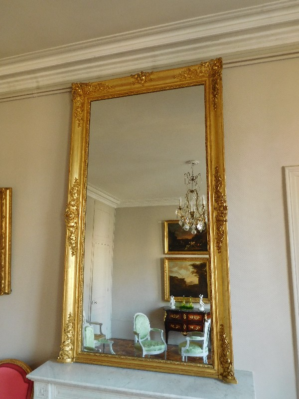 Tr s grand miroir en bois dor d 39 poque napol on iii for Grand miroir antique