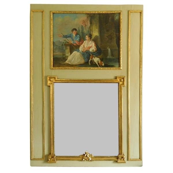Trumeau de boiserie en bois doré et laqué à huile sur toile XVIIIe, époque Louis XVI 134cm x 190cm