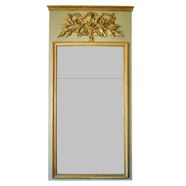 Trumeau, miroir de boiserie d'époque Louis XVI en bois laqué et doré, glace au mercure