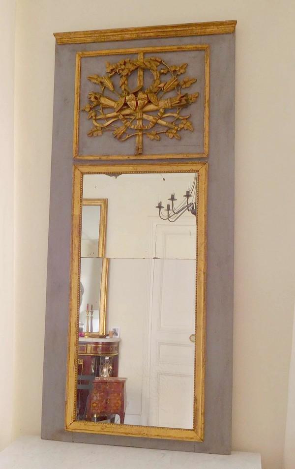 Trumeau miroir d 39 entre deux d 39 poque louis xvi dor la for Miroir trumeau bois