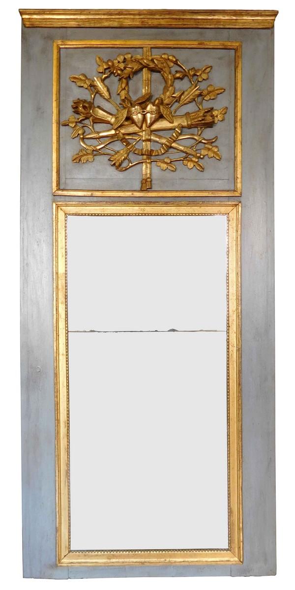 trumeau miroir d 39 entre deux d 39 poque louis xvi dor la feuille d 39 or glace au mercure. Black Bedroom Furniture Sets. Home Design Ideas