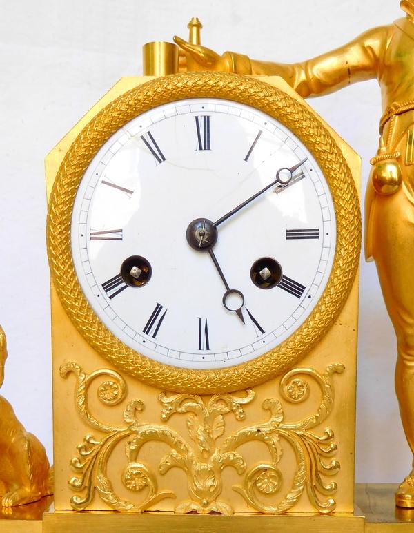 Pendule au chasseur d'époque Empire - bronze ciselé et doré au mercure