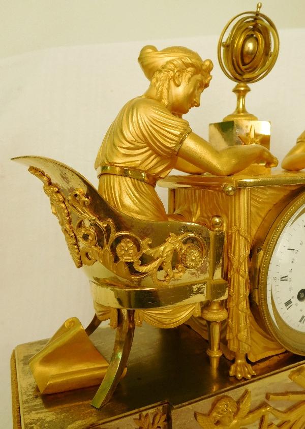 Pendule la leçon d'astronomie d'Après Reiche Claude Galle & Grand Girard, bronze doré, époque Empire