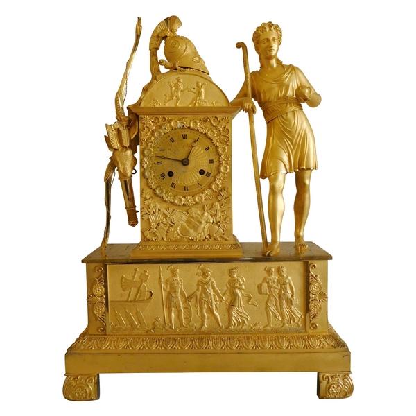 Grande pendule Empire en bronze doré au mercure, mythologie de la pomme d'or / Guerre de Troie