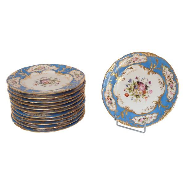 Jacob Petit : service à dessert - 12 assiettes en porcelaine bleu turquoise, bouquets de fleurs et or