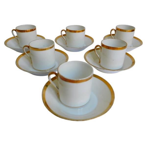 Service à café de 6 tasses litron en porcelaine de Paris d'époque Empire Restauration
