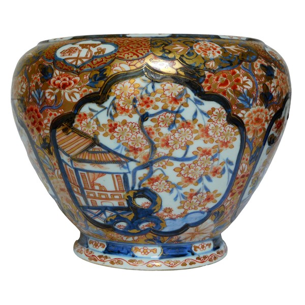 Grande potiche cache-pot / centre de table en porcelaine de Chine décor Imari doré à l'or, époque XIXe