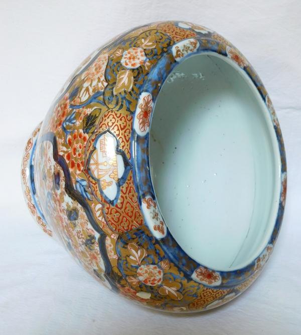 Grande potiche cache-pot / centre de table en porcelaine de Chine décor Imari doré à l'or, époque XIXe