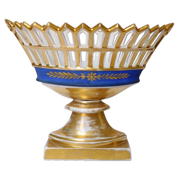 Coupe ajourée en porcelaine de Paris bleu et or d'époque Empire / Restauration