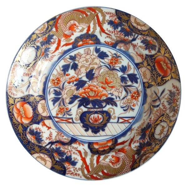 Grand plat / vasque / jatte en porcelaine à décor Imari d'époque fin XVIIIe - Chine ou Japon