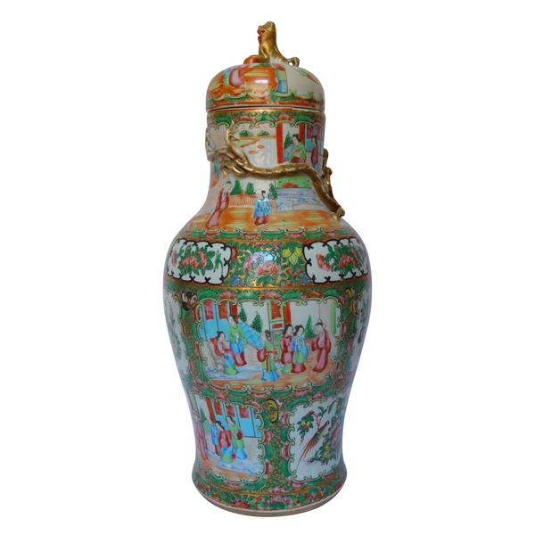 Grand vase / potiche 47cm en porcelaine de Canton, Chine, époque fin XIXe siècle
