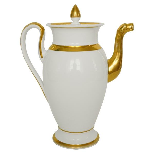 Grande verseuse / théière Empire en porcelaine de Paris, époque début XIXe