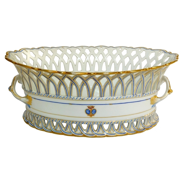 Grande jardinière ovale en porcelaine de Paris dorée d'époque XIXe, monogramme VC