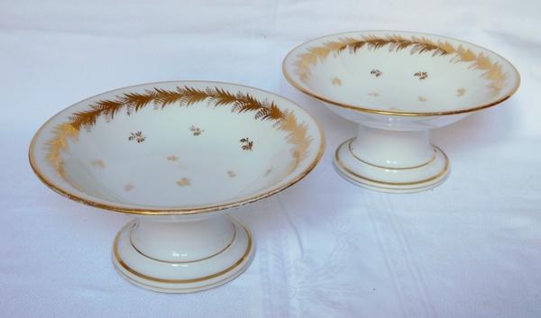 Locré : paire de compotiers en porcelaine d'époque Empire rehaussées à l'or fin
