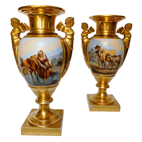 Grande paire de vases en porcelaine d'époque Empire - Manufacture Felly - 37cm