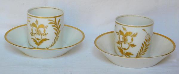 Service à café tête à tête Empire en porcelaine de Paris dorée à l'or fin, époque début XIXe
