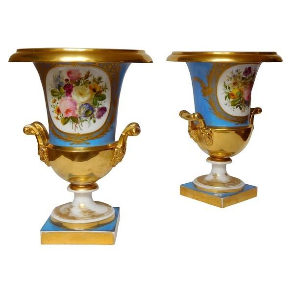 Grande paire de vases en porcelaine d'époque Empire Restauration - 30cm