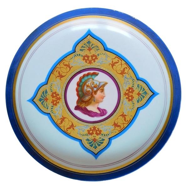 Plat rond en porcelaine de Paris tête de Minerve, époque Napoléon III - 27,6cm