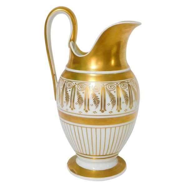 Pot à lait de style Empire en porcelaine de Paris dorée à l'or fin, époque milieu XIXe
