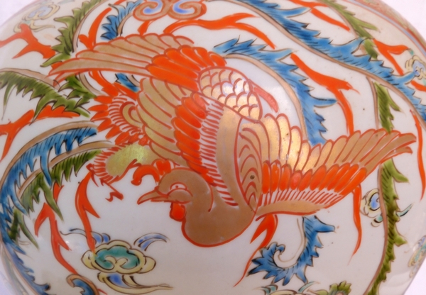 Grande potiche en porcelaine de Chine d'époque XIXe, décor au phoenix rouge et or