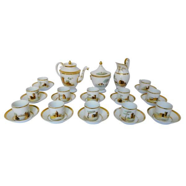 Service à café Empire en porcelaine de Paris dorée à l'or fin & paysages italiens, époque début XIXe