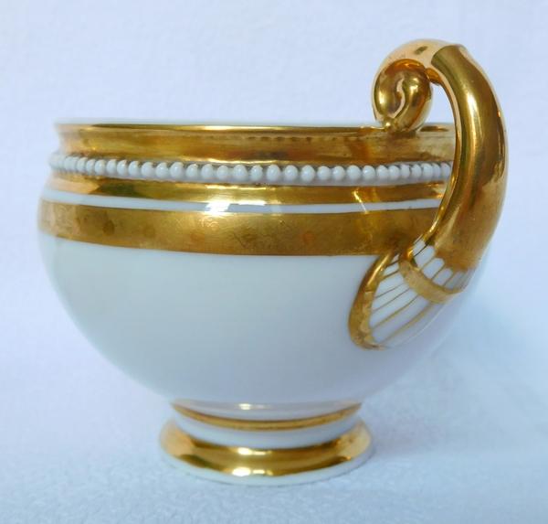 Manufacture Neppel à Paris : service à café d'époque Empire, porcelaine blanc et or