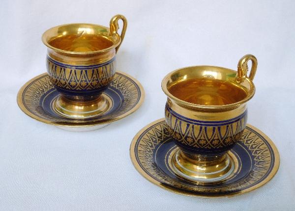 Tasse à café Empire en porcelaine de Paris bleue dorée à l'or fin, époque début XIXe