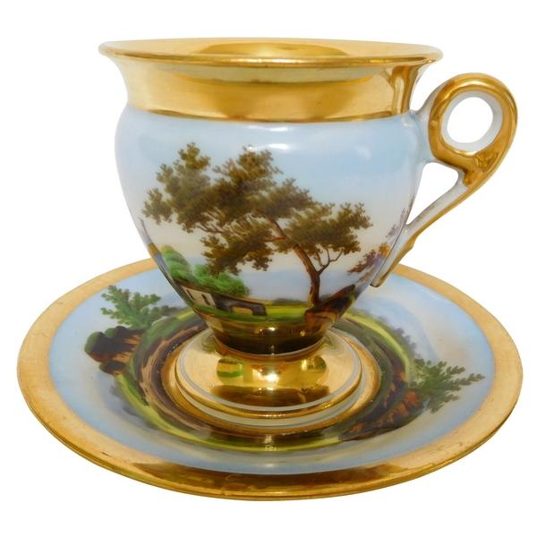 Tasse à café en porcelaine de Paris dorée, paysage italien