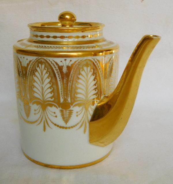 Théière en porcelaine de Paris d'époque Empire décor de palmettes à l'or