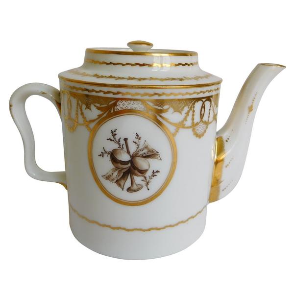 Théière en porcelaine de Paris d'époque XVIIIe or et grisaille
