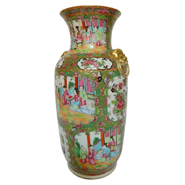 Grand vase / potiche en porcelaine de Canton, Chine, fin XIXe siècle
