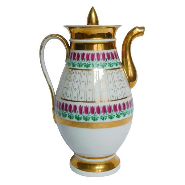 Verseuse, cafetière Empire en porcelaine de Paris dorée à l'or fin, époque Restauration