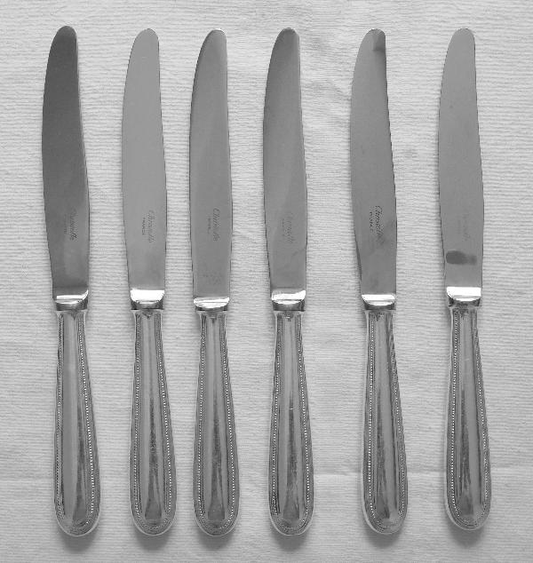Couteau de table en métal argenté, Christofle, modèle Perles