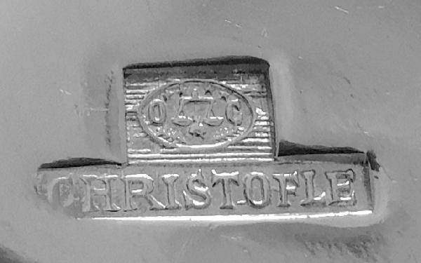Couvert à poisson en métal argenté, Christofle, modèle Perles