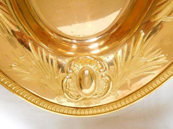 Grande aiguière et son bassin en laiton doré à l'or fin - époque 1840