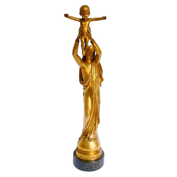 Barbedienne : Vierge d'Albert, Vierge à l'Enfant en bronze doré - 28cm