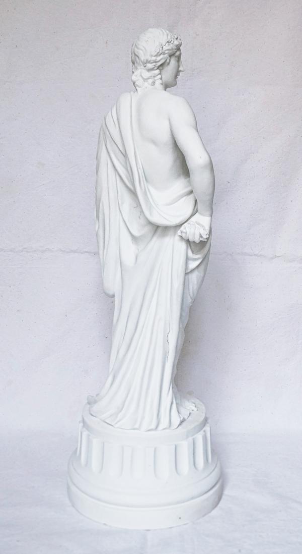 Statue d'Apollon en biscuit de porcelaine, style Louis XVI, époque fin XIXe
