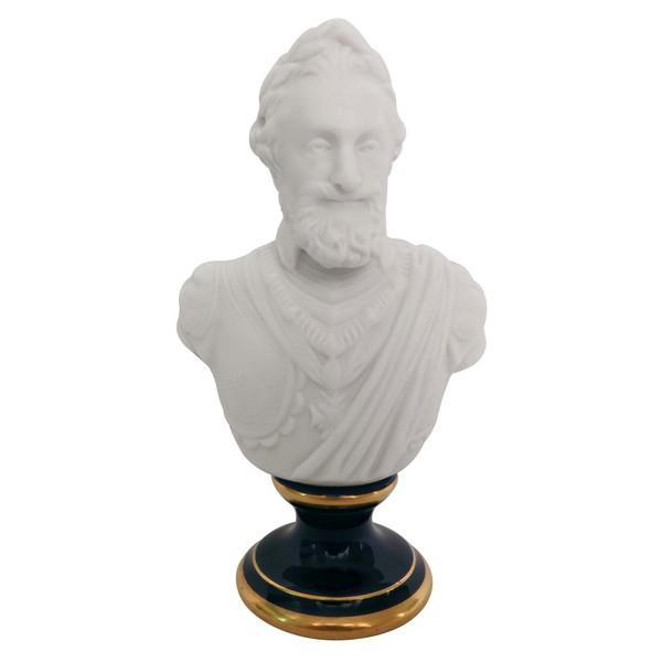 Buste d'Henri IV en biscuit de Sèvres signé, socle bleu de Sèvres rehaussé à l'or fin - 1896