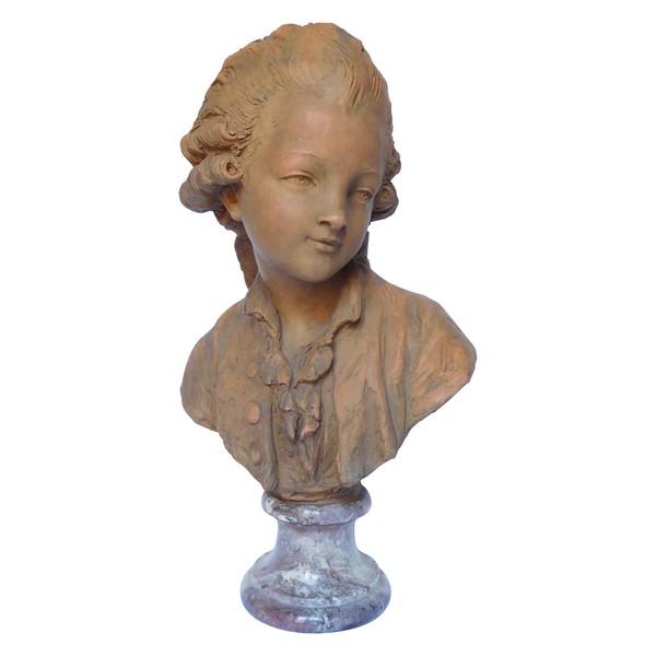 Buste de jeune garçon en terre cuite et marbre, style Louis XVI