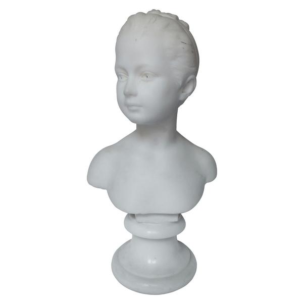Buste de Louise Brongniart d'après Houdon, 48cm, marbre blanc, époque XIXe