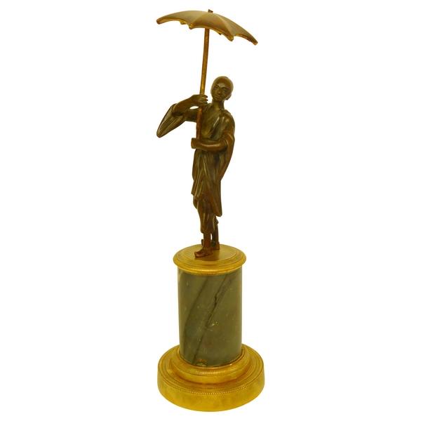Sculpture décorative : Chinois au parapluie, bronze et marbre, style Louis XVI - début XIXe siècle