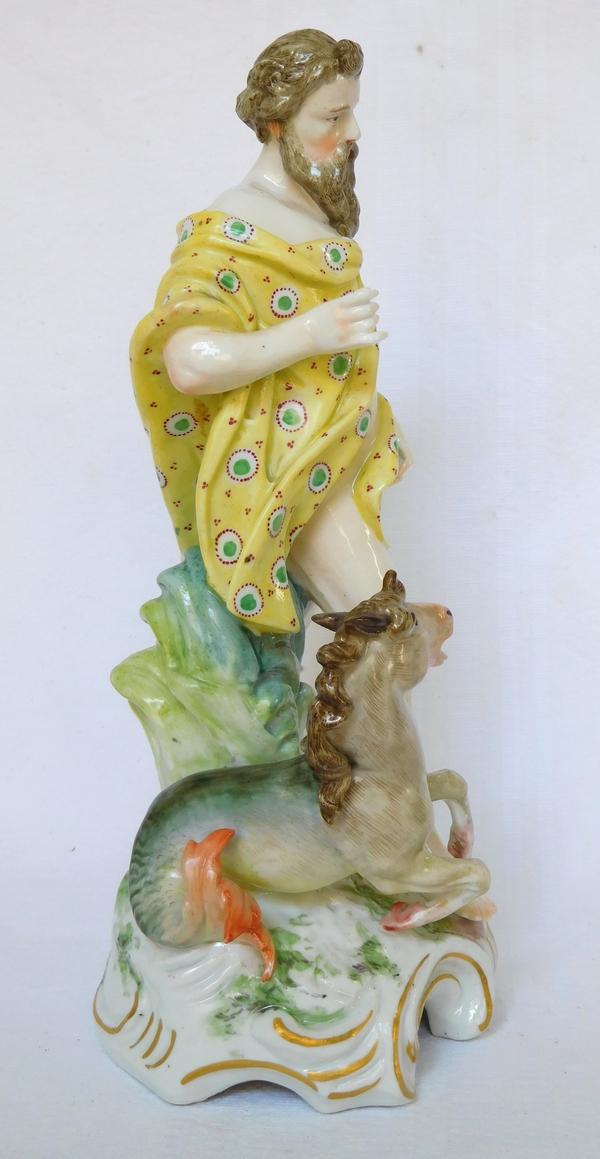 Statuette en porcelaine de Saxe - Poséidon dieu de la mer - époque XIXe siècle - Sitzendorf