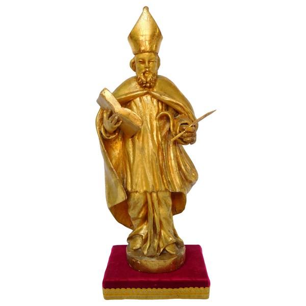 Statue d'évêque en bois doré d'époque début XIXe siècle : Saint François de Sales
