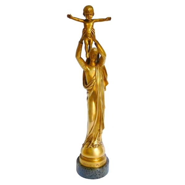 Barbedienne : Vierge d'Albert, Vierge à l'Enfant en bronze doré - 42cm