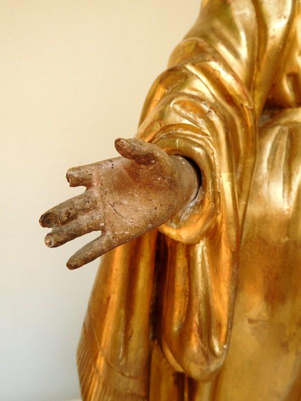 statue de la vierge marie en bois dore depoque xviiie siecle