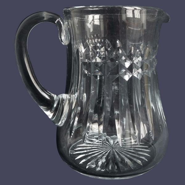Pichet / broc / carafe à eau en cristal de Baccarat, modèle Buckingham - signé