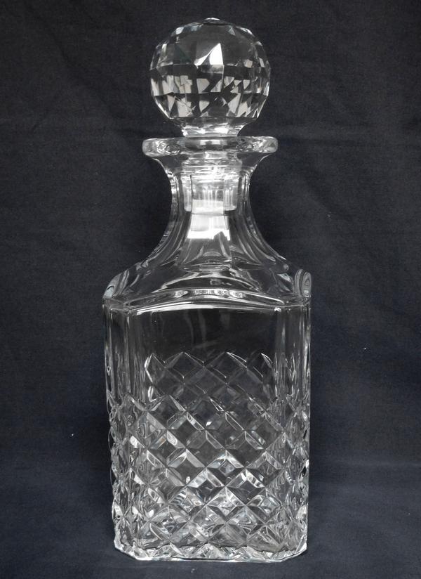 Flacon / carafe à whisky ou cognac en cristal de Baccarat, modèle Burgos - signé