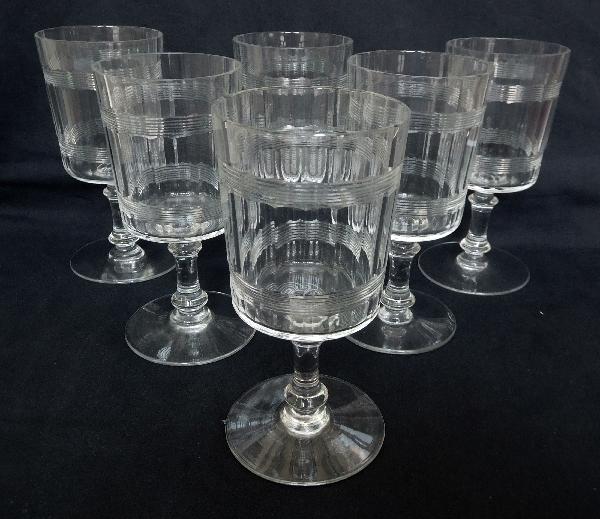 Verre à vin en cristal de Baccarat, modèle proche de Chicago à double filet - 12,3cm