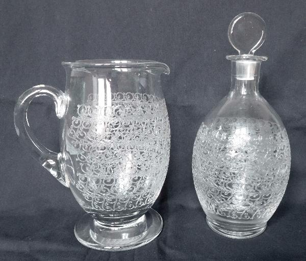 Carafe à vin en cristal de Baccarat, modèle Gouvieux (proche modèle Rohan)
